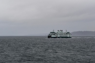 Washington State Ferry in the Puget Sound just departing downtown Seattle.